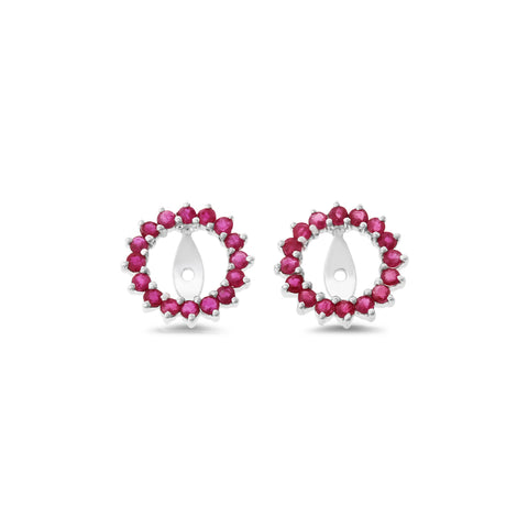 0.92ctw Round Shaped Genuine Natural Ruby Earrings Jacket 14kt White Gold