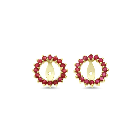 0.94ctw Round Shaped Genuine Natural Ruby Earrings Jacket 14kt Yellow Gold