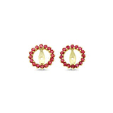 1.18ctw Round Shaped Genuine Natural Ruby Earrings Jacket 14kt Yellow Gold