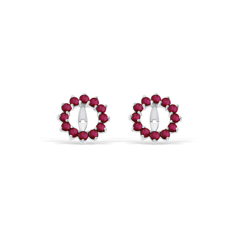 0.91ctw Round Shaped Genuine Natural Ruby Earrings Jacket 14kt White Gold