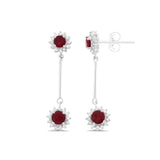2.01ctw Genuine Natural Ruby and Diamond Dangling Earrings 14kt White Gold