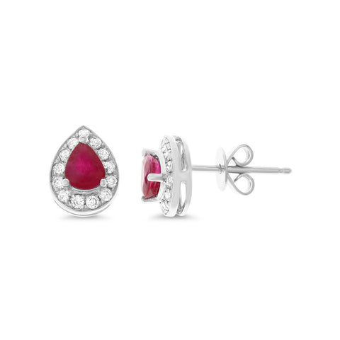 1.04ctw Genuine Natural Ruby and Diamond Earrings 14kt White Gold