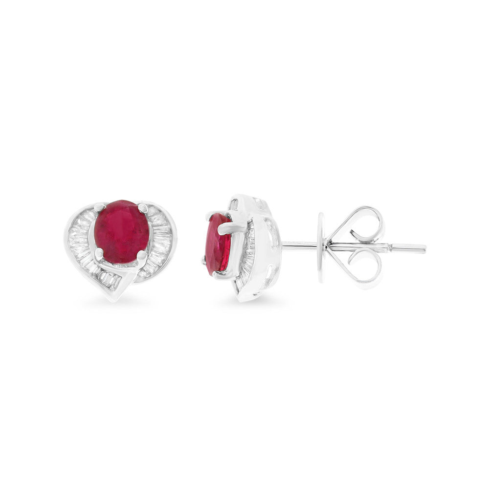 1.12ctw Genuine Natural Ruby and Diamond Earrings 18kt White Gold