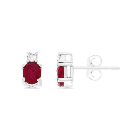 0.96ctw Genuine Natural Ruby and Diamond Earrings 14kt White Gold