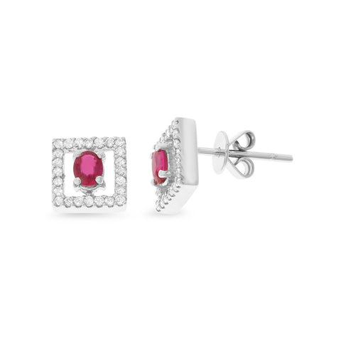 0.64ctw Genuine Natural Ruby and Diamond Earrings 18kt White Gold