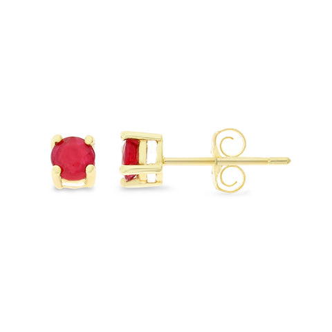 0.56ctw 3 mm. Round Shaped Genuine Natural Ruby Earrings 14kt Yellow Gold