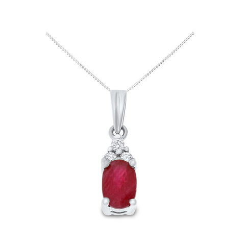 0.60ctw Genuine Natural Ruby and Diamond Pendant 14kt White Gold