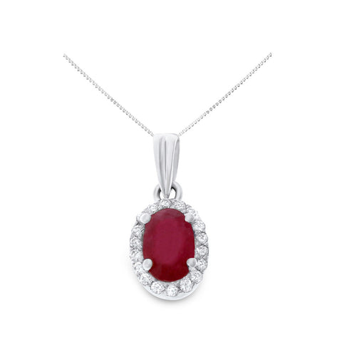 0.88ctw Genuine Natural Ruby and Diamond Pendant 14kt White Gold