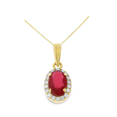 0.88ctw Genuine Natural Ruby and Diamond Pendant 14kt Yellow Gold