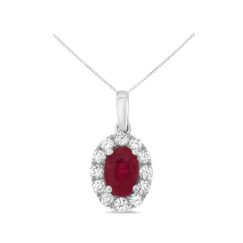 0.94ctw Genuine Natural Ruby and Diamond Pendant 14kt White Gold