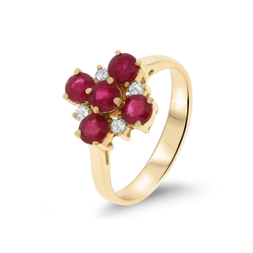 1.65ctw Genuine Natural Ruby and Diamond Ring Size 7 14kt Yellow Gold