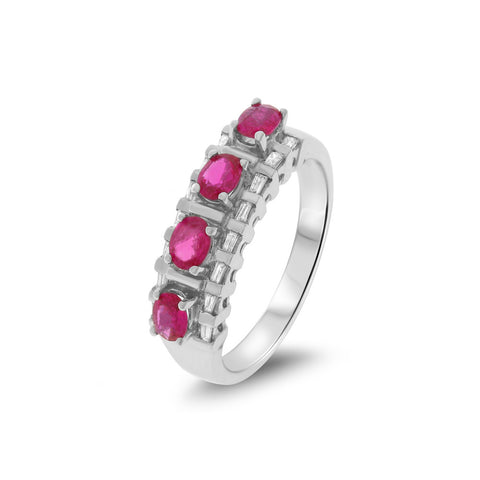 1.00ctw Genuine Natural Ruby and Diamond Ring Size 7.25 14kt White Gold