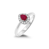 0.50ctw Genuine Natural Ruby and Diamond Ring Size 7 14kt White Gold
