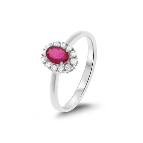 0.53ctw Genuine Natural Ruby and Diamond Ring Size 7 14kt White Gold