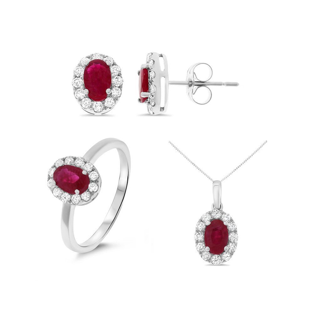 3.12ctw Genuine Natural Ruby and Diamond Set 14kt White Gold