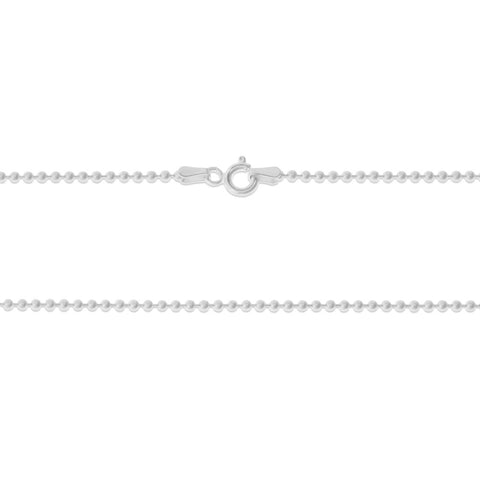 ".925 STERLING SILVER - 24"" 1.8 MM. ITALY ROUND BEAD NECKLACE SILVER CHAIN"