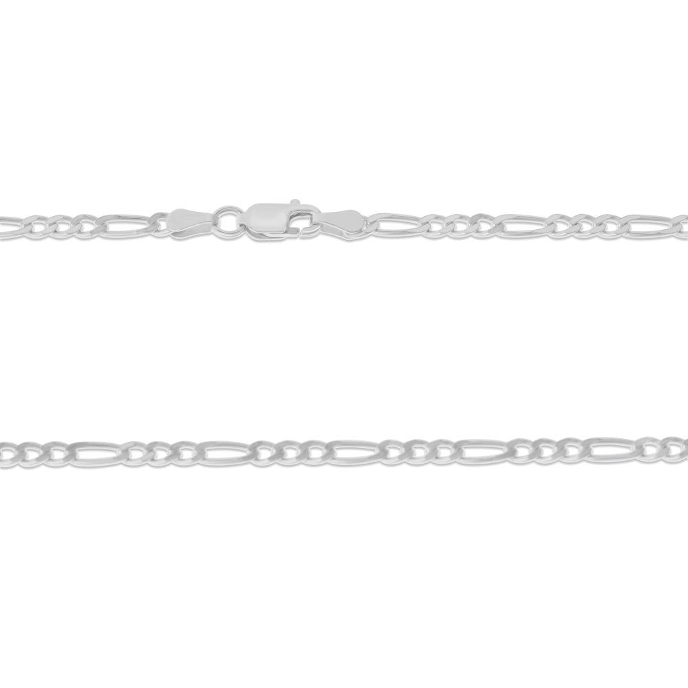 ".925 STERLING SILVER - 24"" 3.0 MM. ITALY FIGARO NECKLACE SILVER CHAIN"