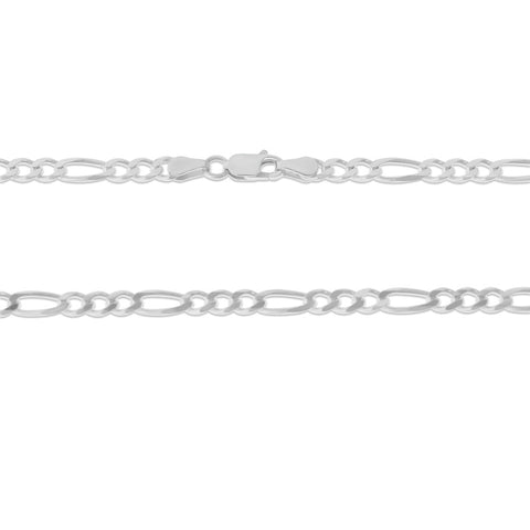 ".925 STERLING SILVER - 20"" 4.0 MM. ITALY FIGARO NECKLACE SILVER CHAIN"