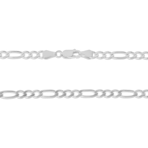 ".925 STERLING SILVER - 22"" 5.0 MM. ITALY FIGARO NECKLACE SILVER CHAIN"