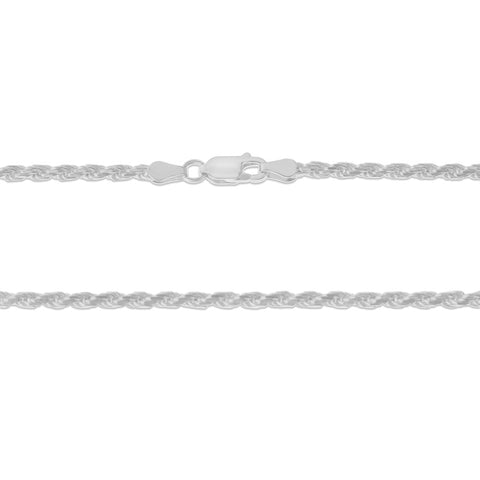 ".925 STERLING SILVER - 16"" 3.0 MM. ITALY ROPE NECKLACE SILVER CHAIN"