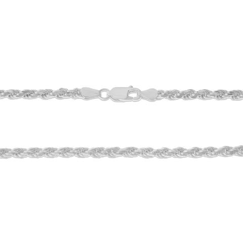 ".925 STERLING SILVER - 24"" 3.5 MM. ITALY ROPE NECKLACE SILVER CHAIN"