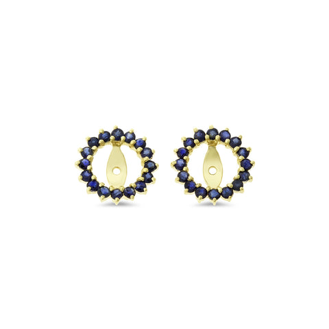 0.92ctw Genuine Natural Blue Sapphire Round Earrings Jacket 14kt Yellow Gold