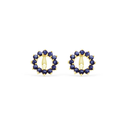 0.96ctw Genuine Natural Blue Sapphire Round Earrings Jacket 14kt Yellow Gold