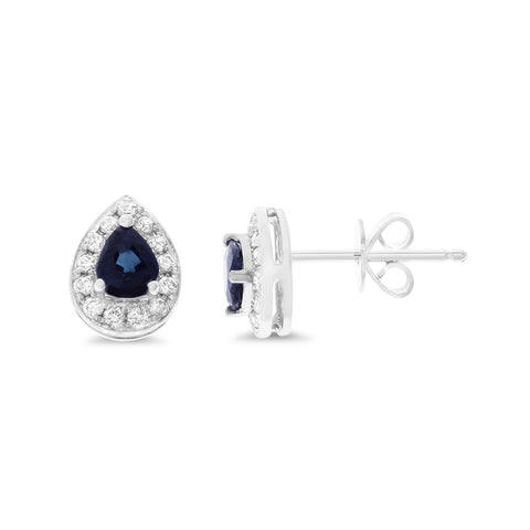 0.97ctw Genuine Natural Blue Sapphire and Diamond Earrings 14kt White Gold