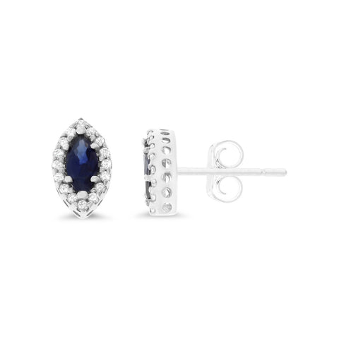 0.76ctw Genuine Natural Blue Sapphire and Diamond Earrings 14kt White Gold