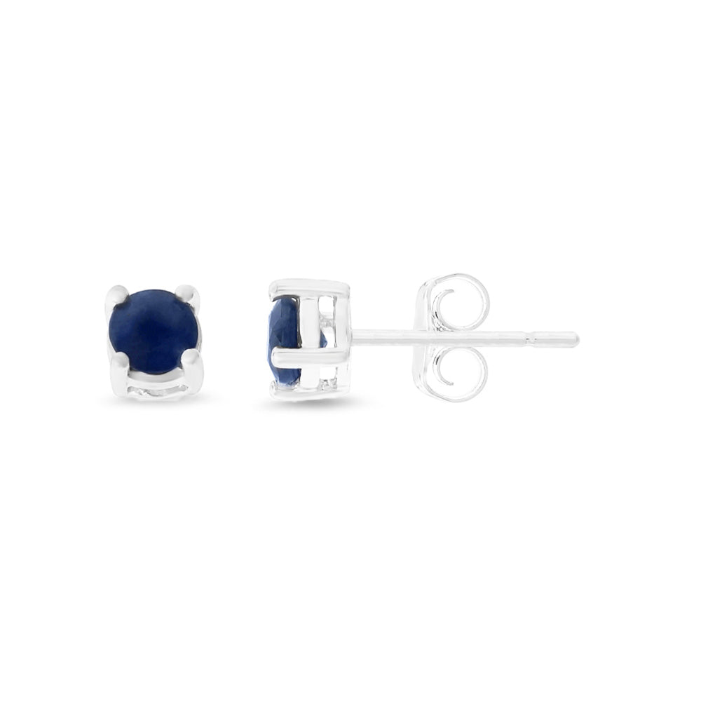0.65ctw 4 mm. Round Genuine Natural Blue Sapphire Earrings 14kt White Gold