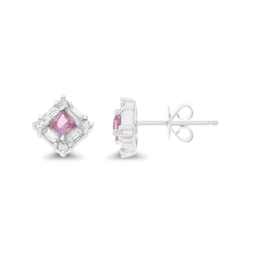 0.67ctw Genuine Natural Pink Sapphire and Diamond Earrings 18kt White Gold