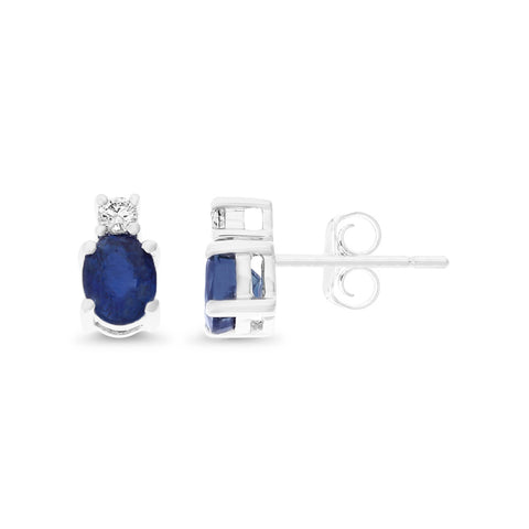 1.12ctw Genuine Natural Blue Sapphire and Diamond Earrings 14kt White Gold