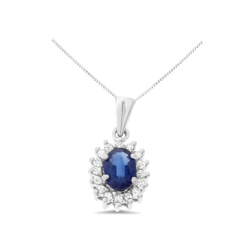 0.72ctw Genuine Natural Blue Sapphire and Diamond Pendant 14kt White Gold