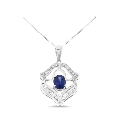 1.11ctw Genuine Natural Blue Sapphire and Diamond Pendant 18kt White Gold