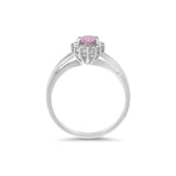 0.59ctw Genuine Natural Pink Sapphire and Diamond Ring Size 6.5 14kt White Gold