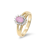 0.59ctw Genuine Natural Pink Sapphire and Diamond Ring Size 6.5 14kt Yellow Gold