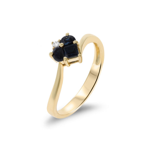 0.46ctw Genuine Natural Blue Sapphire and Diamond Heart Ring Size 6.75 14kt Yellow Gold