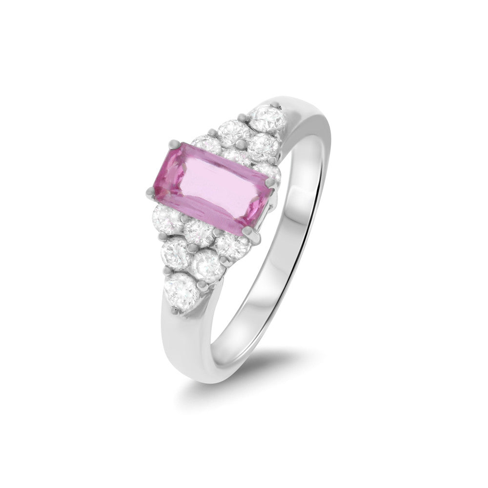 1.90ctw Genuine Natural Pink Sapphire and Diamond Ring Size 7.25 18kt White Gold