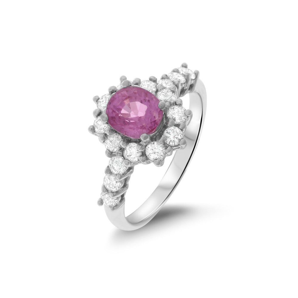 2.40ctw Genuine Natural Pink Sapphire and Diamond Ring Size 6.75 18kt White Gold
