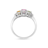 1.49ctw Genuine Natural Multi-Color Sapphire and Diamond Ring Size 6.75 18kt White Gold