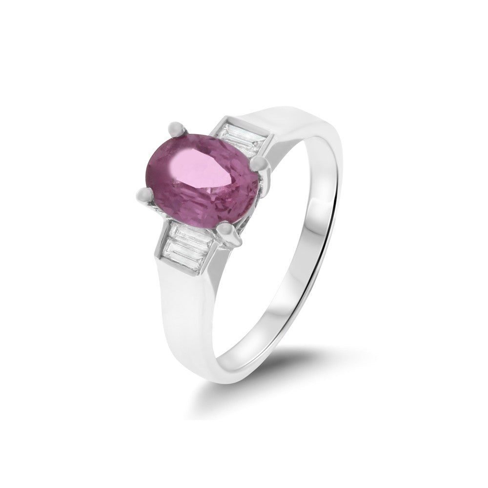 1.72ctw Genuine Natural Pink Sapphire and Diamond Ring Size 6.5 18kt White Gold