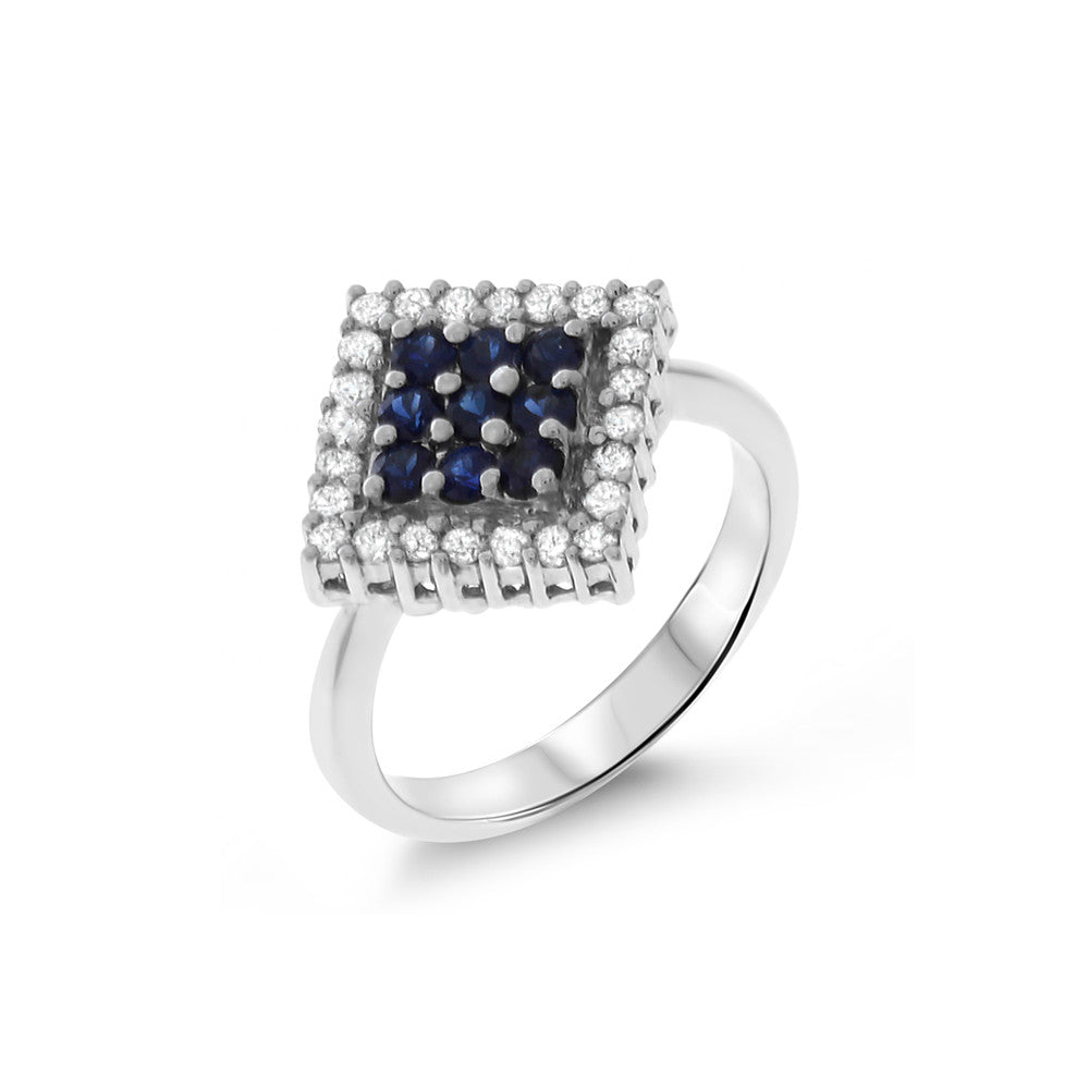 0.91ctw Genuine Natural Blue Sapphire and Diamond Ring Size 6.75 14kt White Gold