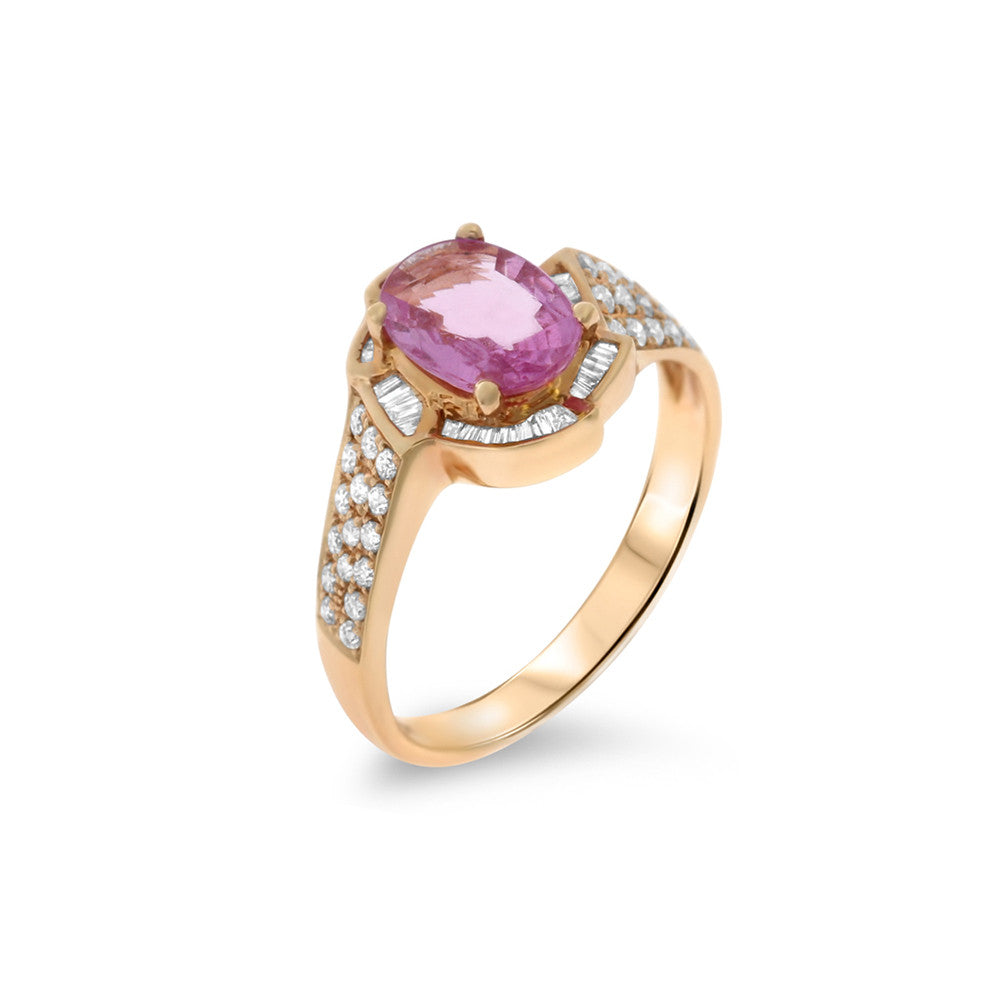 1.57ctw Genuine Natural Pink Sapphire and Diamond Ring Size 6.5 18kt Rose Gold