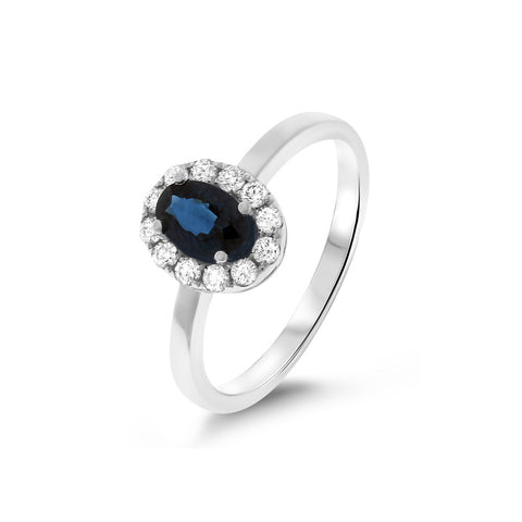 0.87ctw Genuine Natural Blue Sapphire and Diamond Ring Size 6.5 14kt White Gold