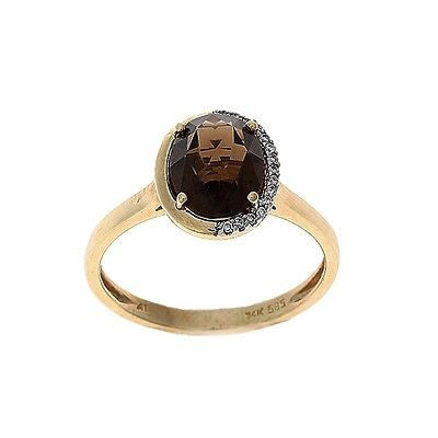 1.95ctw Genuine Natural Smoky Quartz and Diamond Ring Size 7 14kt Yellow Gold