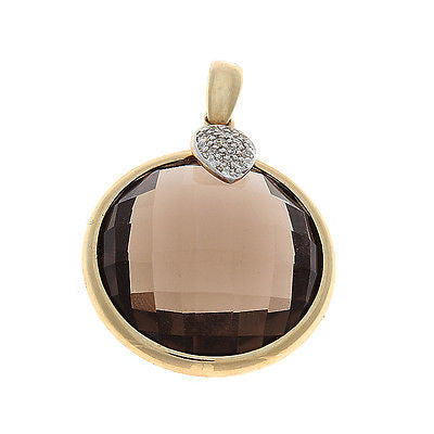 19.64ctw Genuine Natural Smoky Quartz and Diamond Pendant 14kt Yellow Gold