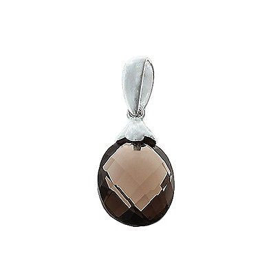 2.48ctw Genuine Natural Briolette Smoky Quartz Pendant 14kt White Gold