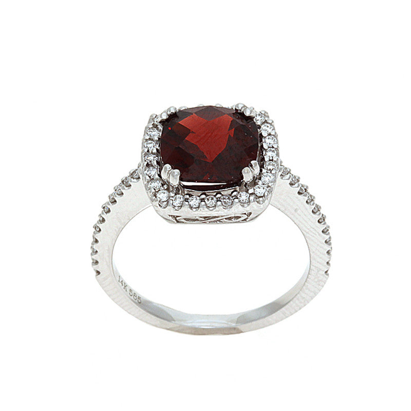 2.94ctw Genuine Natural Garnet and Diamond Ring Size 6 14kt White Gold