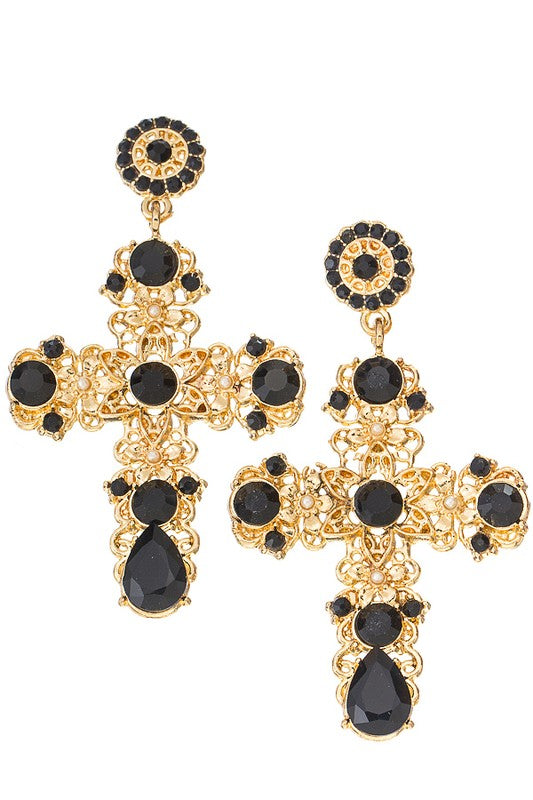 Fame & Glory Jeweled Cross Drop Earrings