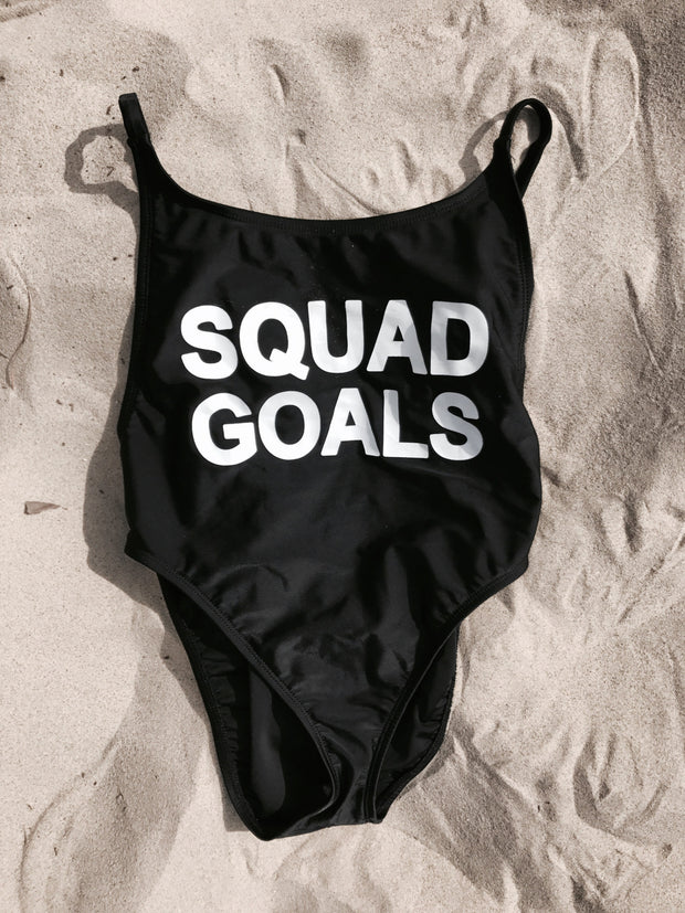 Squad Goals High-cut One Piece Swimsuit (Black)